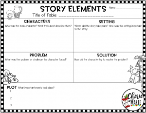 Download this fable story elements chart when you sign up for my free resource library.